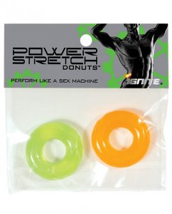 Ignite Power Stretch Donut Cock Ring - Orange/Green Pack of 2