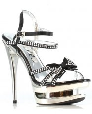 "Ellie Shoes Tess 6"" Rhinestone Strap Heel w/Bow Black Ten"