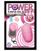 Power Mini Bullet Remote Control - 10 Function Pink