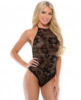 Romp Gemma High Neck Playsuit w/Tie Neck & Snap Closure Black L/XL