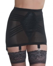 Rago Shapewear Zippered Open Bottom Girdle Black 7X