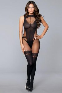 OPEN LOW BACK CROTCHLESS W/ FAUX THIGH HIGHS O/S