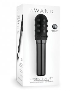 Le Wand Grand Chrome Bullet Rechargeable Vibrator w/Silicone Textured Ring - Black