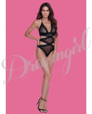 Simply Sexy Stretch Sheer Mesh & Scalloped Lace Teddy Black O/S