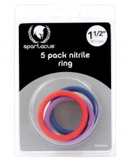 "Spartacus 1.5"" Nitrile Cock Ring Set - Asst. Colors Pack of 5"