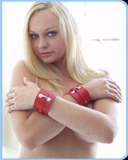 (WD) WRIST CUFFS LEATHER RED