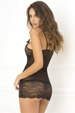 LACE UP FRONT CHEMISE BLACK M/L (NET)