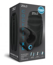 Zolo Cockpit Palm Sized Squeezable Vibrating Male Stimulator Stroker XL - Black