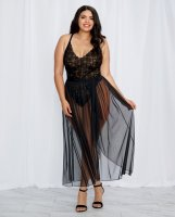 Stretch Lace Teddy & Sheer Mesh Maxi Skirt w/Adjustable Straps & G-String Black 3X