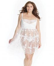 Lightly Padded Demi Cup, Fine Tulle Skirt Babydoll w/3D Floral Detail & Thong White 1X/2X