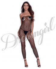 Simply Sexy Convertible Diamond Pattern Open Crotch Bodystocking - Doubles as Crop Top- Blk- OS