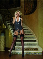 WORKING LATE GARTER DRESS THONG & GLASSES BLACK O/S