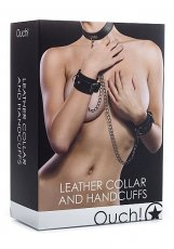 (WD) LEATHER COLLAR & HANDCUFF BLACK