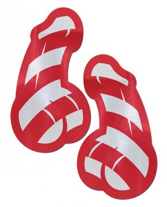 PASTEASE RED & WHITE STRIPED CANDY CANE PENIS PASTIES
