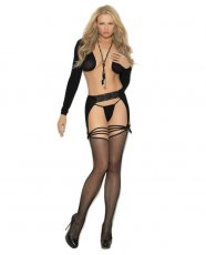 Fishnet Thigh High w/Lace & Opaque Garterbelt Black O/S