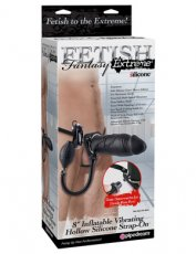 FETISH FANTASY 8 INFLATABLE VIBRATING HOLLOW STRAP ON BLACK""