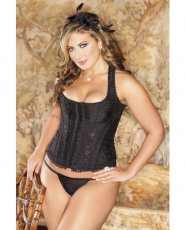 Brocade Racerback Corset w/Hook & Eye Closure, Adjustable Lace-Up Back & G-String Black 44