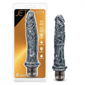 JET PITCH CARBON METALLIC BLACK VIBRATING DILDO