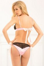 BOW BOUDOIR BRA & PANTY SET BLACK S/M