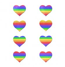 BODY MINIS 8 MINI RAINBOW HEARTS NIPPLE & BODY PASTIES