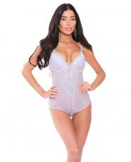 Sheer Teddy w/Underwire Padded Cups Lace Lilac XL