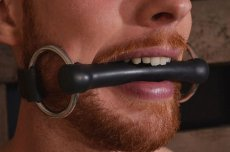 LEATHER O RING ROD GAG BLACK