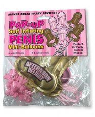 Pop Up Self Inflating Penis Mini Balloons - Pack of 6