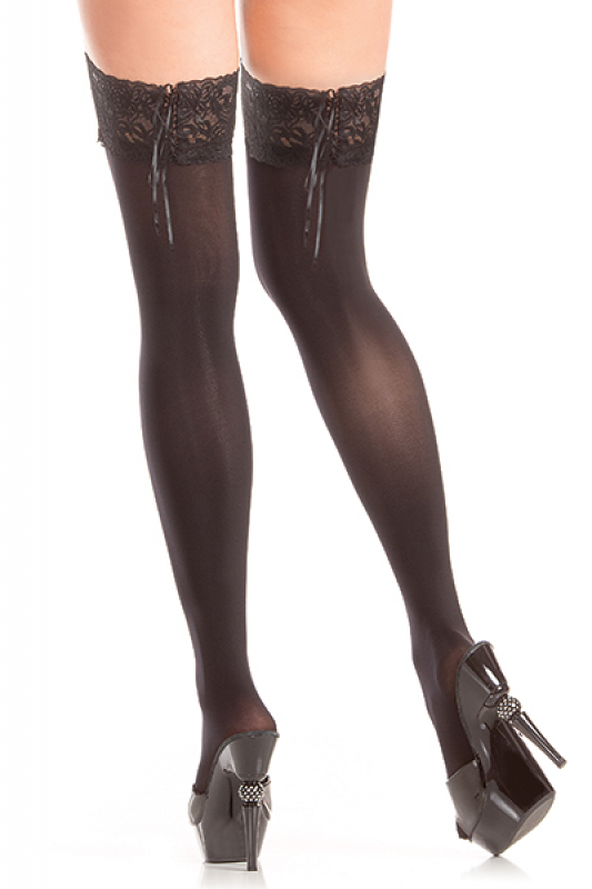 STAY UP OPAQUE THIGH HIGHS W/ LACE WELT O/S